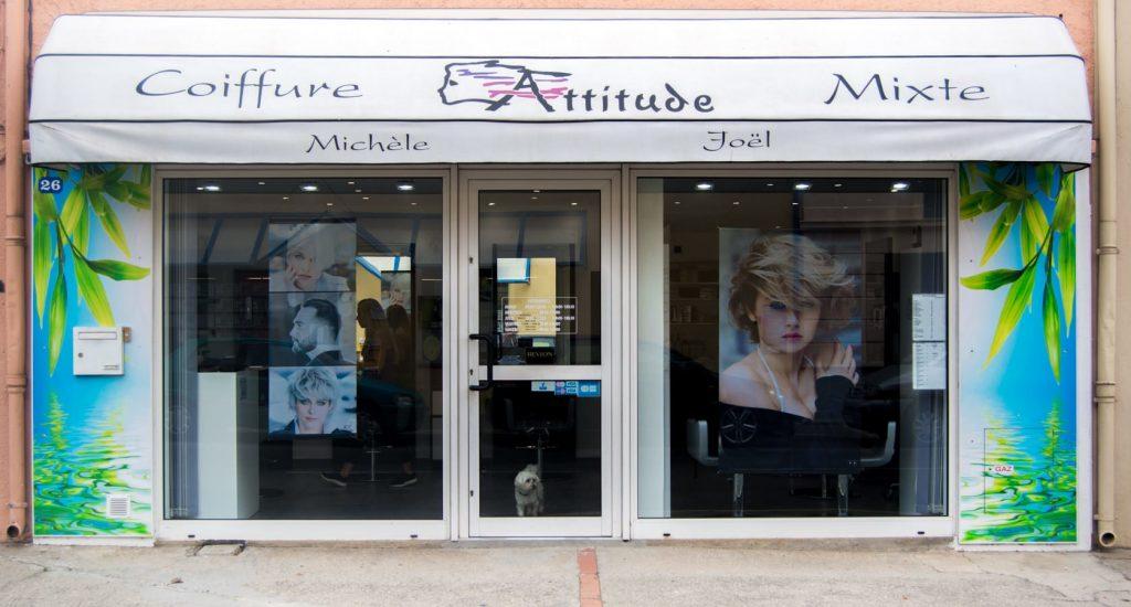 Salon de Coiffure et Domicile - ATTITUDE Michèle et Joël - Elne 66000 - Coiffage - Brushing - Vitrine.
